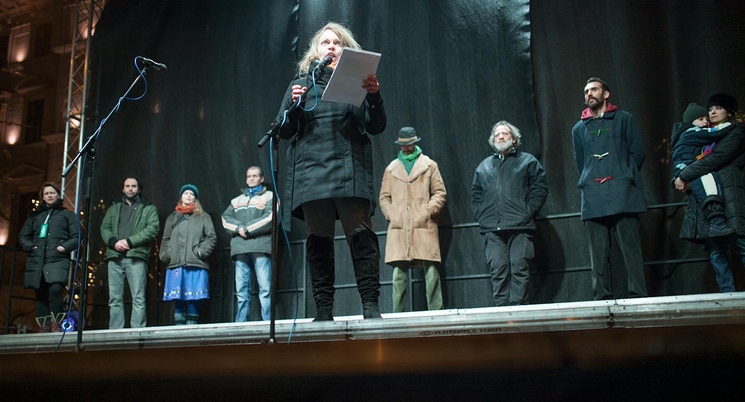 A január 2-i tüntetés felszólalói | Fotó: Magócsi Márton