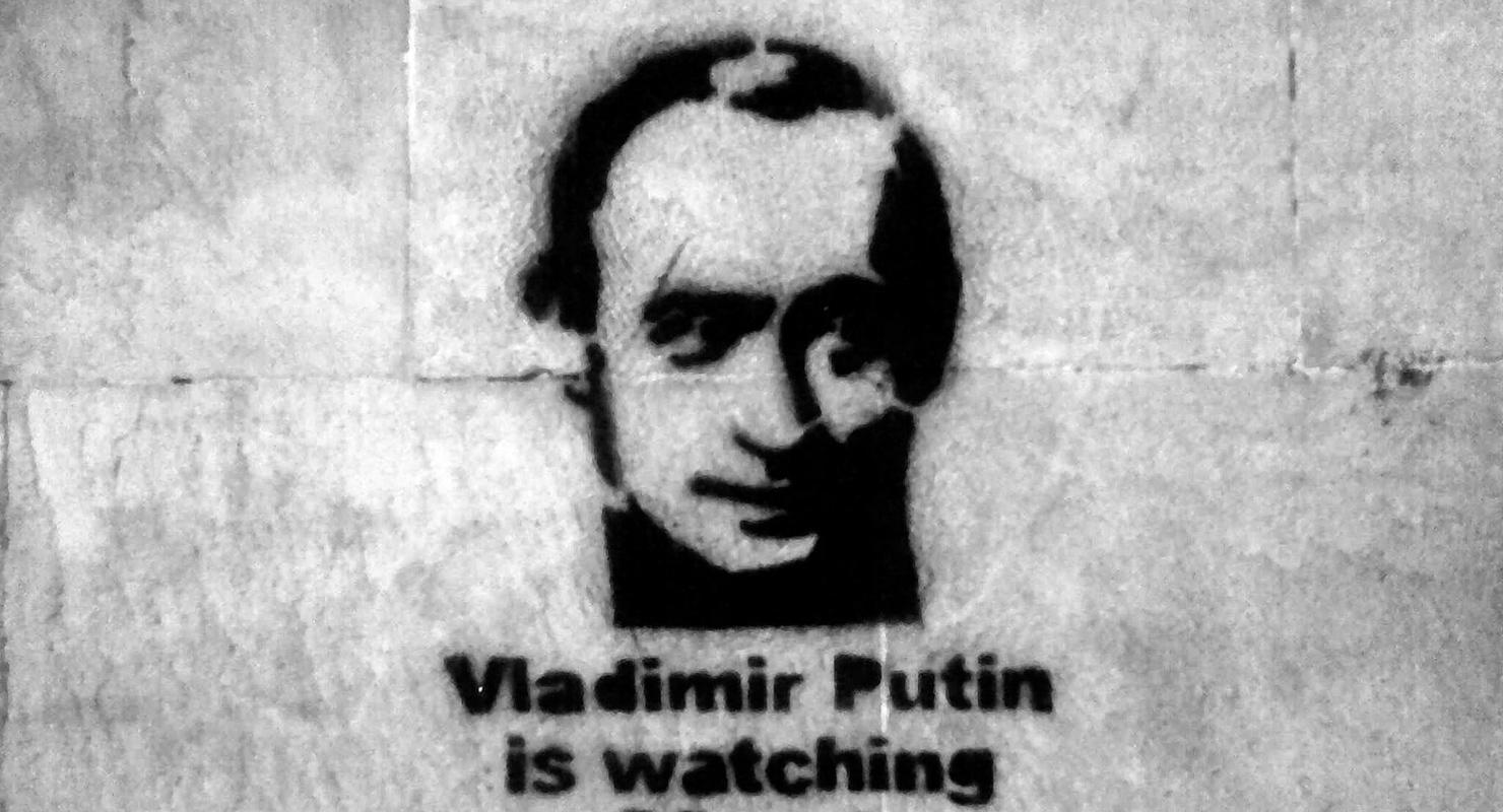 Egy Putyint ábrázoló stencil | Forrás: Flcikr/Jonathan Davis CC-BY-NC