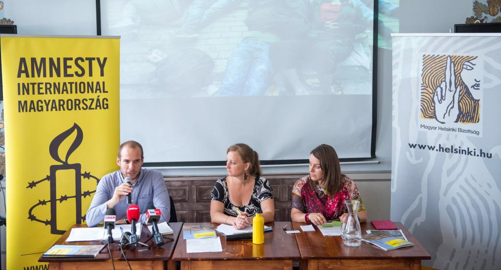Az Amnesty International jelentéséről szóló sajtótájékoztató (Fotó: MTI)