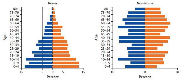 A magyarországi romák (balra) és a nem romák (jobbra). A kék a férfiakat, a narancs a nőket jelöli. |Forrás: Világbank